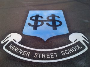 school logo as stockport playground marking