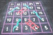 Snakes & Ladders playground markings 1-25